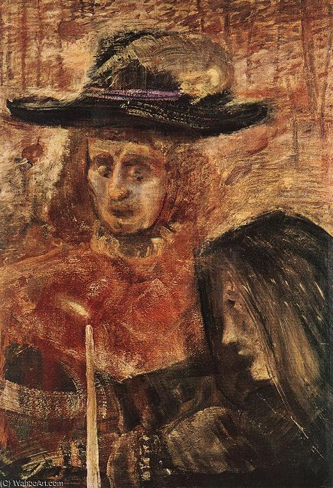 Man With Hat And Woman With Black Scarf by Gulacsy Lajos Kalman (1882-1932, Hungary) | Oil Painting | WahooArt.com