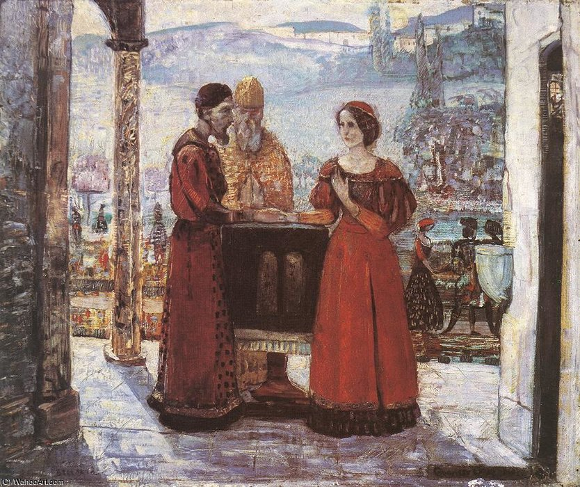 The Betrothal Of Mary by Gulacsy Lajos Kalman (1882-1932, Hungary) | Famous Paintings Reproductions | WahooArt.com
