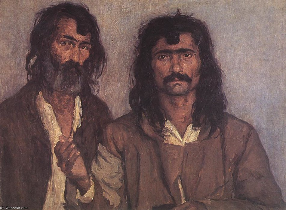 Two Gipsies by Kunffy Lajos (1838-1934, Hungary)