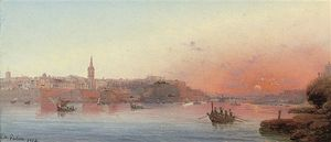 Luigi Maria Galea - Sunset Over The Grand Harbour, Valetta, Malta