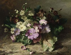 Margaretha Roosenboom - A Still Life With Flowers On A Forest Floor
