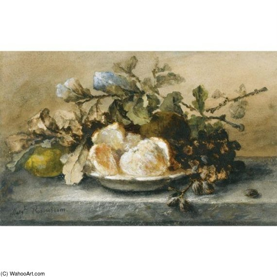 A Still Life With Fruit On A Ledge by Margaretha Roosenboom (1843-1896, Netherlands) | WahooArt.com