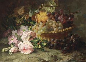 Margaretha Roosenboom - A Still Life With Roses And Grapes
