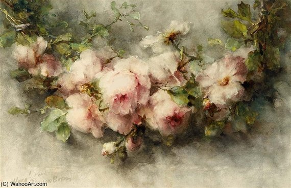 A Swag Of Pink Roses by Margaretha Roosenboom (1843-1896, Netherlands) | WahooArt.com