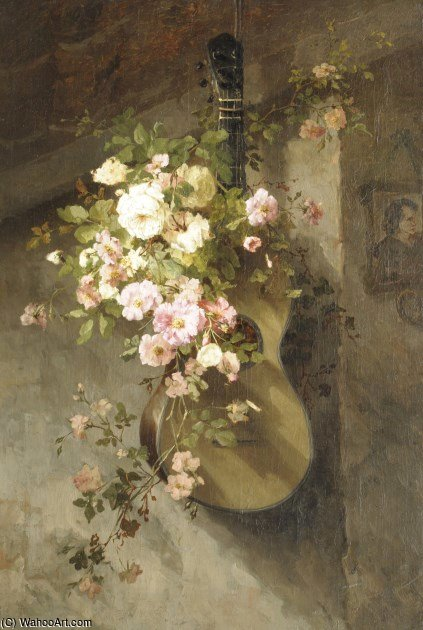 Roses On A Spanish Guitar by Margaretha Roosenboom (1843-1896, Netherlands) | WahooArt.com