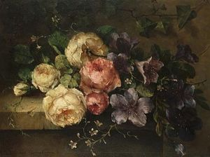 Margaretha Roosenboom - Still Life Of Roses And Convolvulus On A Stone Ledge