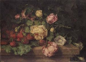 Margaretha Roosenboom - Still Life Of Roses And Strawberries