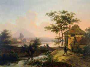 Mathys Schoevaerdts - A Landscape With Peasants On A Bridge