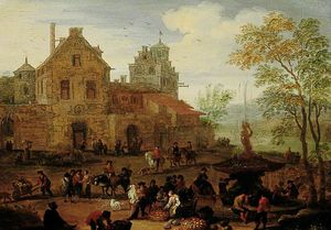 Mathys Schoevaerdts - Market Scene By A Fountain