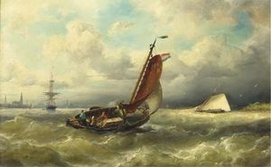 Nicolaas Riegen - A Barge From Marken On The Ij, Amsterdam In The Distance