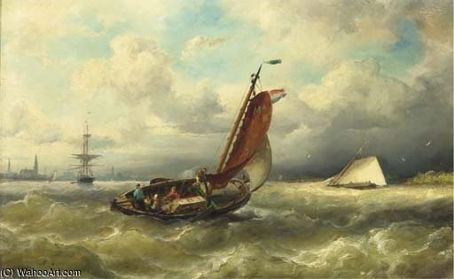 A Barge From Marken On The Ij, Amsterdam In The Distance by Nicolaas Riegen (1827-1889, Netherlands) | Museum Quality Reproductions | WahooArt.com