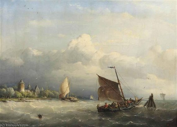 A Fishing Boat Mooring In Choppy Waters by Nicolaas Riegen (1827-1889, Netherlands)