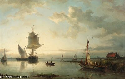 A River Estuary At Dawn by Nicolaas Riegen (1827-1889, Netherlands)