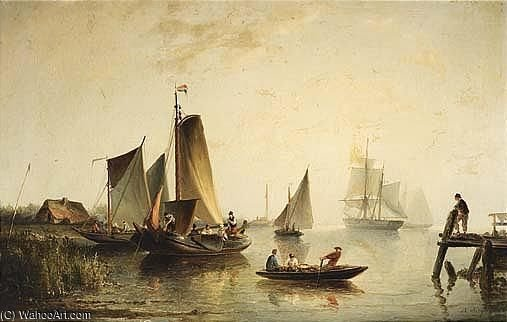A River Landscape With Sailing Vessels by Nicolaas Riegen (1827-1889, Netherlands)