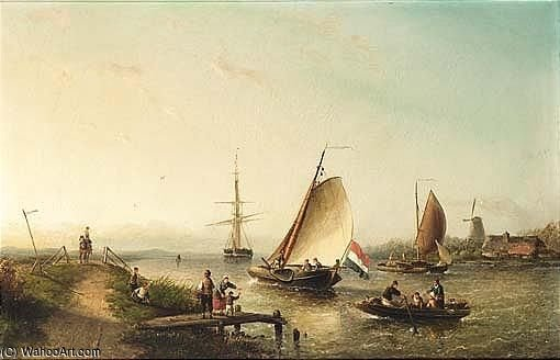 A River Scene With Sailing Vessels And Figures On A Riverbank by Nicolaas Riegen (1827-1889, Netherlands)