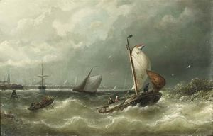 Nicolaas Riegen - A Sailing Barge From Marken On The Ij