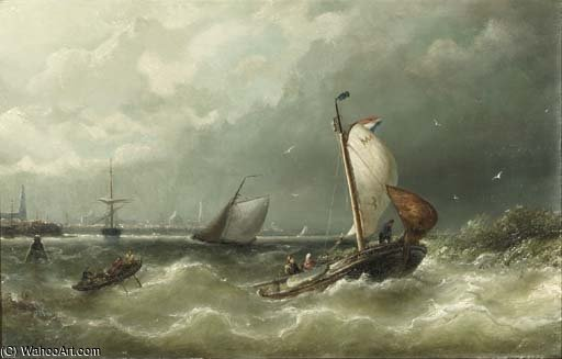 A Sailing Barge From Marken On The Ij by Nicolaas Riegen (1827-1889, Netherlands)