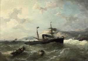 Nicolaas Riegen - A Steamer In Heavy Weather