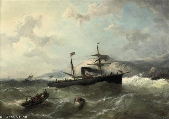 A Steamer In Heavy Weather by Nicolaas Riegen (1827-1889, Netherlands)