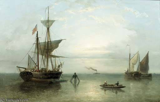 A Steamship In The Distance by Nicolaas Riegen (1827-1889, Netherlands)
