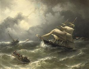 Nicolaas Riegen - A Two-master Caught In Stormy Weather