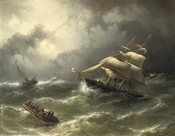 A Two-master Caught In Stormy Weather by Nicolaas Riegen (1827-1889, Netherlands)