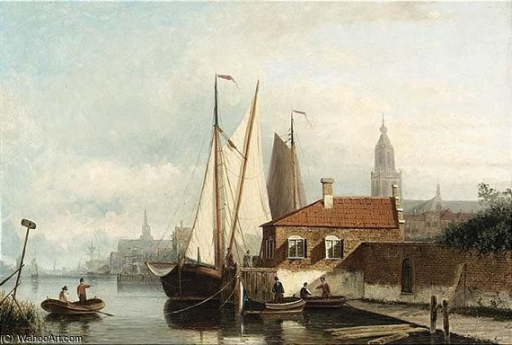 A View Of A Town With Sailing by Nicolaas Riegen (1827-1889, Netherlands)