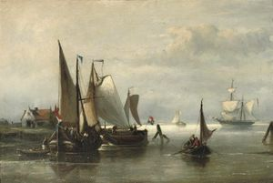 Nicolaas Riegen - Barges Moored In A Calm