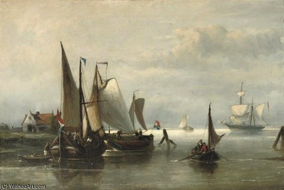 Barges Moored In A Calm by Nicolaas Riegen (1827-1889, Netherlands)