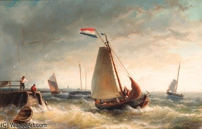 De Hoop Setting Out For Sea by Nicolaas Riegen (1827-1889, Netherlands)
