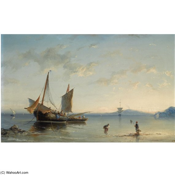 Fishermen In The Bay Of Naples by Nicolaas Riegen (1827-1889, Netherlands)