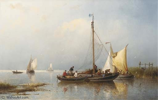 Fishermen Inspecting Their Catch by Nicolaas Riegen (1827-1889, Netherlands)