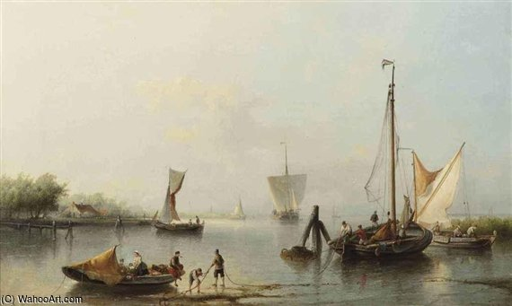 Fishing Boats Near The Shore by Nicolaas Riegen (1827-1889, Netherlands)