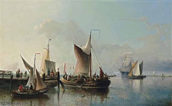 Fishing Boats Off A Jetty by Nicolaas Riegen (1827-1889, Netherlands)
