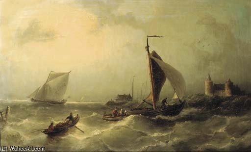 Heading For Shore Near The Muiderslot by Nicolaas Riegen (1827-1889, Netherlands)