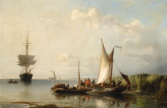 Hoisting The Sails by Nicolaas Riegen (1827-1889, Netherlands)