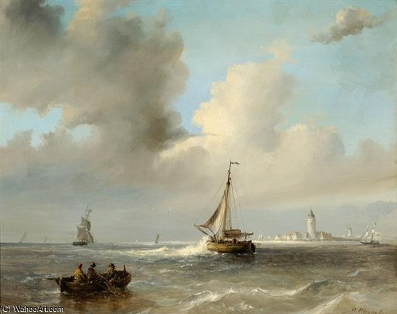 Order Museum Quality Reproductions : Men In A Barge And Sailing Boats Off A Coast by Nicolaas Riegen (1827-1889, Netherlands) | WahooArt.com