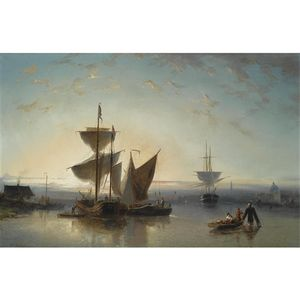 Nicolaas Riegen - Moored Sailing Vessels, A Town In The Background