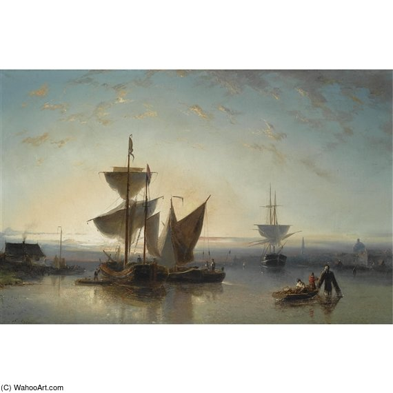 Moored Sailing Vessels, A Town In The Background by Nicolaas Riegen (1827-1889, Netherlands)