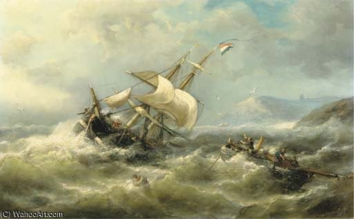 On Choppy Water by Nicolaas Riegen (1827-1889, Netherlands)
