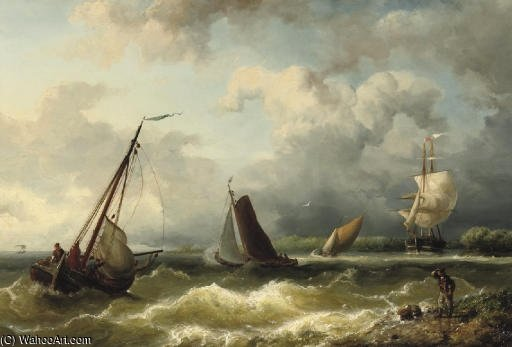 On The Scheldt by Nicolaas Riegen (1827-1889, Netherlands)