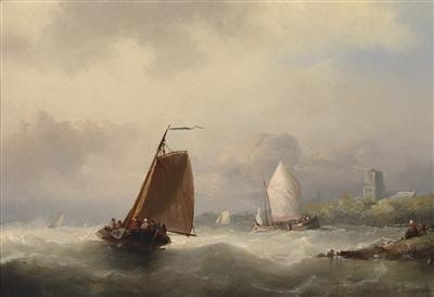 Sailing Boats By The Coast by Nicolaas Riegen (1827-1889, Netherlands)