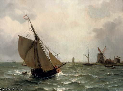 Sailing On A River Estuary by Nicolaas Riegen (1827-1889, Netherlands)