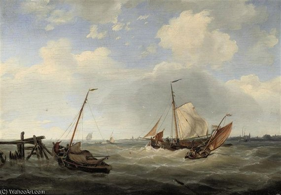 Sailing On Choppy Waters by Nicolaas Riegen (1827-1889, Netherlands)