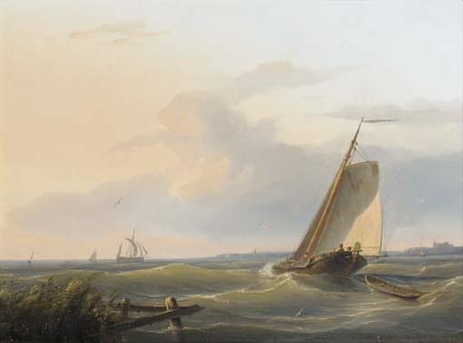 Sailing Vessels In An Estuary by Nicolaas Riegen (1827-1889, Netherlands)