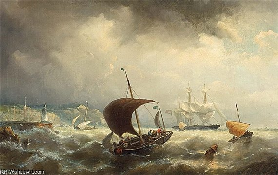 Sailing Vessels Off The Shore by Nicolaas Riegen (1827-1889, Netherlands)