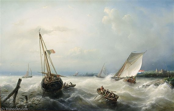 Sailing Vessels On A Choppy Sea by Nicolaas Riegen (1827-1889, Netherlands)