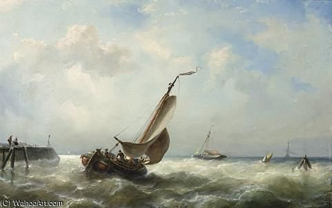 Sailing Vessels On Choppy Waters by Nicolaas Riegen (1827-1889, Netherlands)