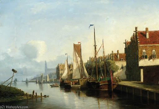 Sailingvessel Along A Quay, A Church Towering In The Distance by Nicolaas Riegen (1827-1889, Netherlands)