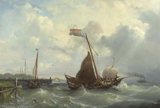 Setting Sail For The Steamboat by Nicolaas Riegen (1827-1889, Netherlands)